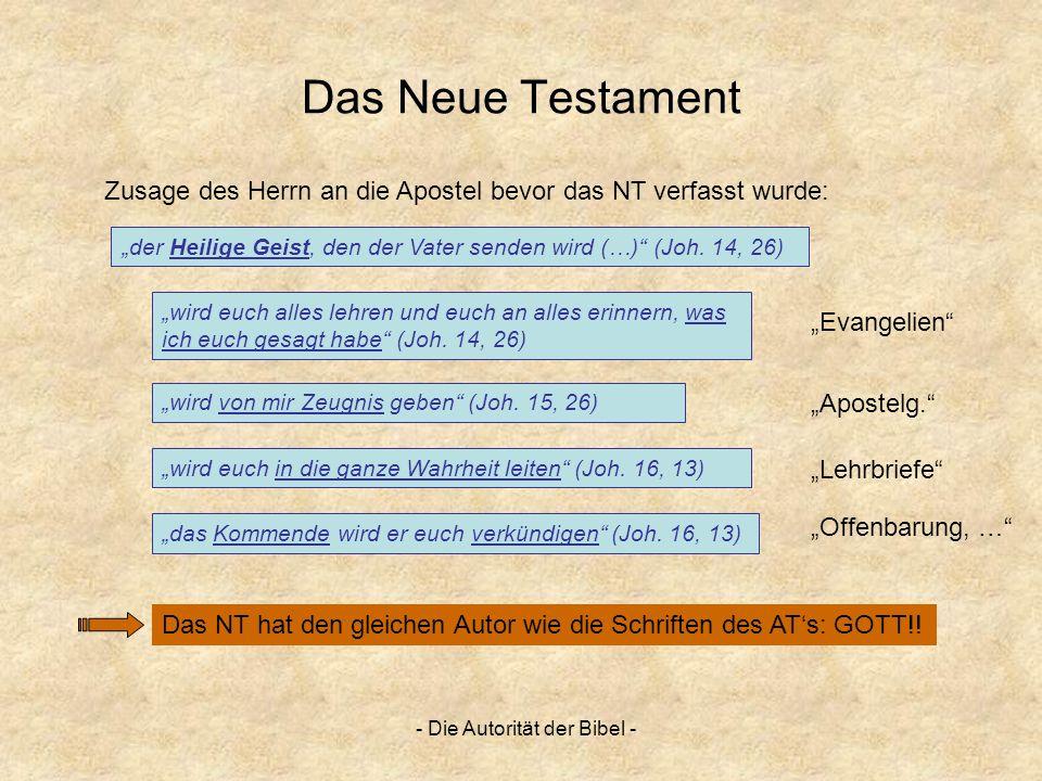 - Die Autorität der Bibel - Das Neue Testament der Heilige Geist, den der Vater senden wird (…) (Joh. 14, 26) Das NT hat den gleichen Autor wie die Sc