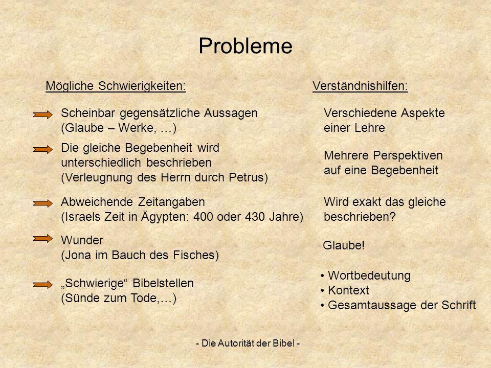 - Die Autorität der Bibel - Probleme Mögliche Schwierigkeiten: Scheinbar gegensätzliche Aussagen (Glaube – Werke, …) Die gleiche Begebenheit wird unte