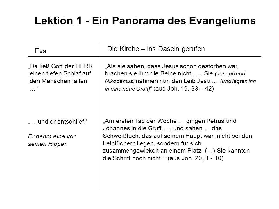 Lektion 1 - Ein Panorama des Evangeliums Eva Da ließ Gott der HERR einen tiefen Schlaf auf den Menschen fallen … Als sie sahen, dass Jesus schon gesto