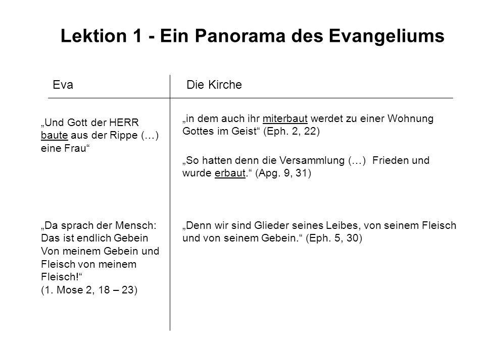 Lektion 1 - Ein Panorama des Evangeliums Eva Und Gott der HERR baute aus der Rippe (…) eine Frau in dem auch ihr miterbaut werdet zu einer Wohnung Got