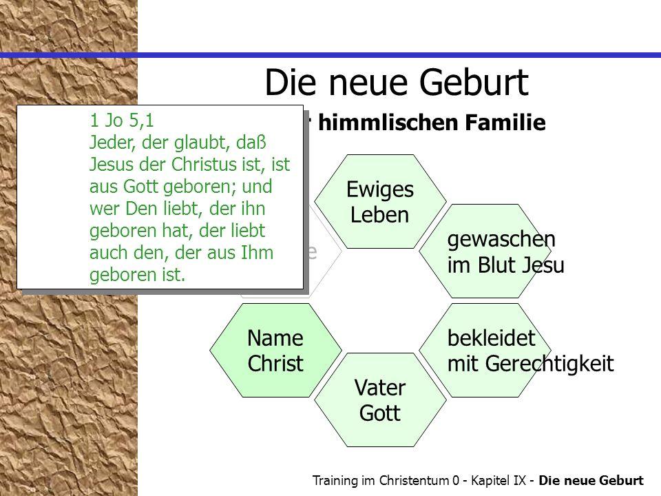 Training im Christentum 0 - Kapitel IX - Die neue Geburt Name Die neue Geburt in der himmlischen Familie Zuhause Ewiges Leben gewaschen im Blut Jesu b