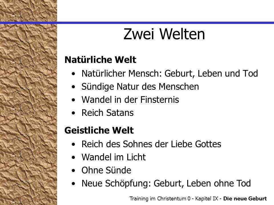 Training im Christentum 0 - Kapitel IX - Die neue Geburt Die neue Geburt Zwei Welten Von neuem geboren.