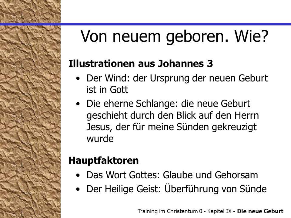 Training im Christentum 0 - Kapitel IX - Die neue Geburt Der Wind: der Ursprung der neuen Geburt ist in Gott Die eherne Schlange: die neue Geburt gesc