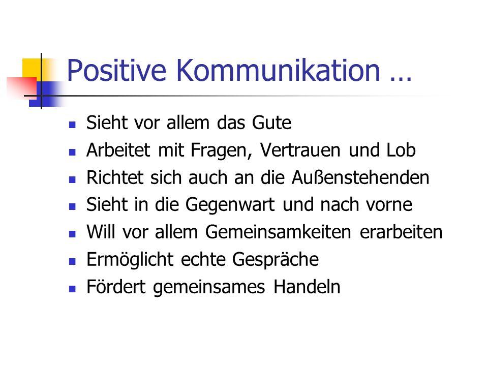 Positive Kommunikation … Sieht vor allem das Gute Arbeitet mit Fragen, Vertrauen und Lob Richtet sich auch an die Außenstehenden Sieht in die Gegenwar