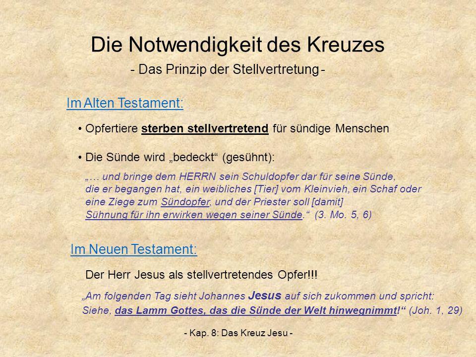 - Kap. 8: Das Kreuz Jesu - Die Notwendigkeit des Kreuzes - Das Prinzip der Stellvertretung- … und bringe dem HERRN sein Schuldopfer dar für seine Sünd