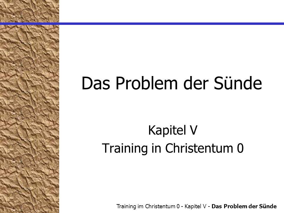 Training im Christentum 0 - Kapitel V - Das Problem der Sünde Das Problem der Sünde Was ist Sünde.