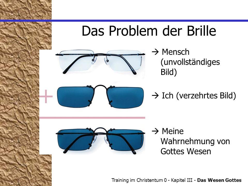 Training im Christentum 0 - Kapitel III - Das Wesen Gottes Das Problem der Brille Mensch (unvollständiges Bild) Ich (verzehrtes Bild) Meine Wahrnehmung von Gottes Wesen