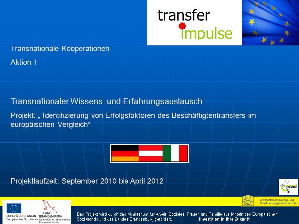 Transnationale Kooperationen Aktion 1 Transnationaler Wissens- und Erfahrungsaustausch Projekt: Identifizierung von Erfolgsfaktoren des Beschäftigtentransfers im europäischen Vergleich Projektlaufzeit: September 2010 bis April 2012