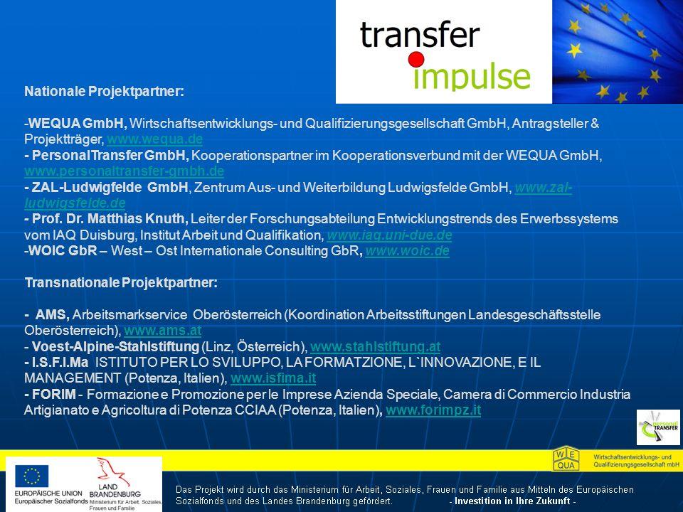 Nationale Projektpartner: -WEQUA GmbH, Wirtschaftsentwicklungs- und Qualifizierungsgesellschaft GmbH, Antragsteller & Projektträger, www.wequa.dewww.wequa.de - PersonalTransfer GmbH, Kooperationspartner im Kooperationsverbund mit der WEQUA GmbH, www.personaltransfer-gmbh.de www.personaltransfer-gmbh.de - ZAL-Ludwigfelde GmbH, Zentrum Aus- und Weiterbildung Ludwigsfelde GmbH, www.zal- ludwigsfelde.dewww.zal- ludwigsfelde.de - Prof.