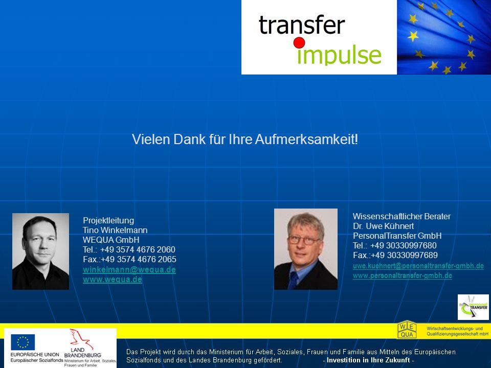 Projektleitung Tino Winkelmann WEQUA GmbH Tel.: +49 3574 4676 2060 Fax.:+49 3574 4676 2065 winkelmann@wequa.de www.wequa.de Wissenschaftlicher Berater Dr.