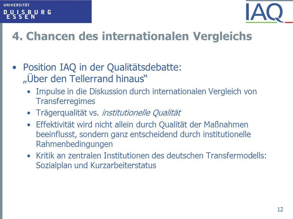 4. Chancen des internationalen Vergleichs Position IAQ in der Qualitätsdebatte: Über den Tellerrand hinaus Impulse in die Diskussion durch internation