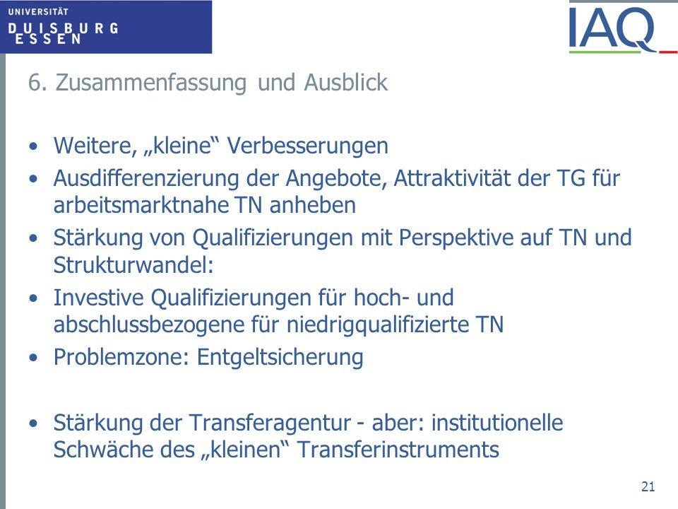 6. Zusammenfassung und Ausblick Weitere, kleine Verbesserungen Ausdifferenzierung der Angebote, Attraktivität der TG für arbeitsmarktnahe TN anheben S