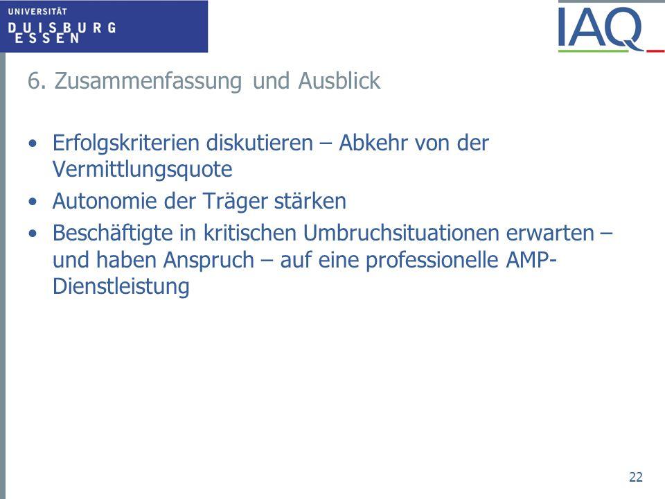 6. Zusammenfassung und Ausblick Erfolgskriterien diskutieren – Abkehr von der Vermittlungsquote Autonomie der Träger stärken Beschäftigte in kritische