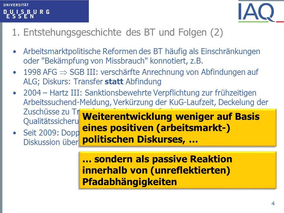 1. Entstehungsgeschichte des BT und Folgen (2) Arbeitsmarktpolitische Reformen des BT häufig als Einschränkungen oder