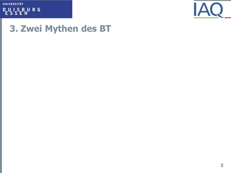 Mythos 1: Transfergesellschaft sind Parkplatz oder Abzocke Meyer-Timpe, Demmer, Dommer und andere: BT sind Parkplatz resp.