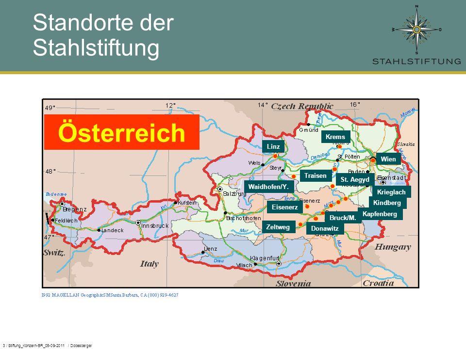 3 / Stiftung_Konzern-BR_05-09-2011 / Dobesberger Österreich Eisenerz Donawitz Zeltweg Kindberg Standorte der Stahlstiftung Bruck/M.
