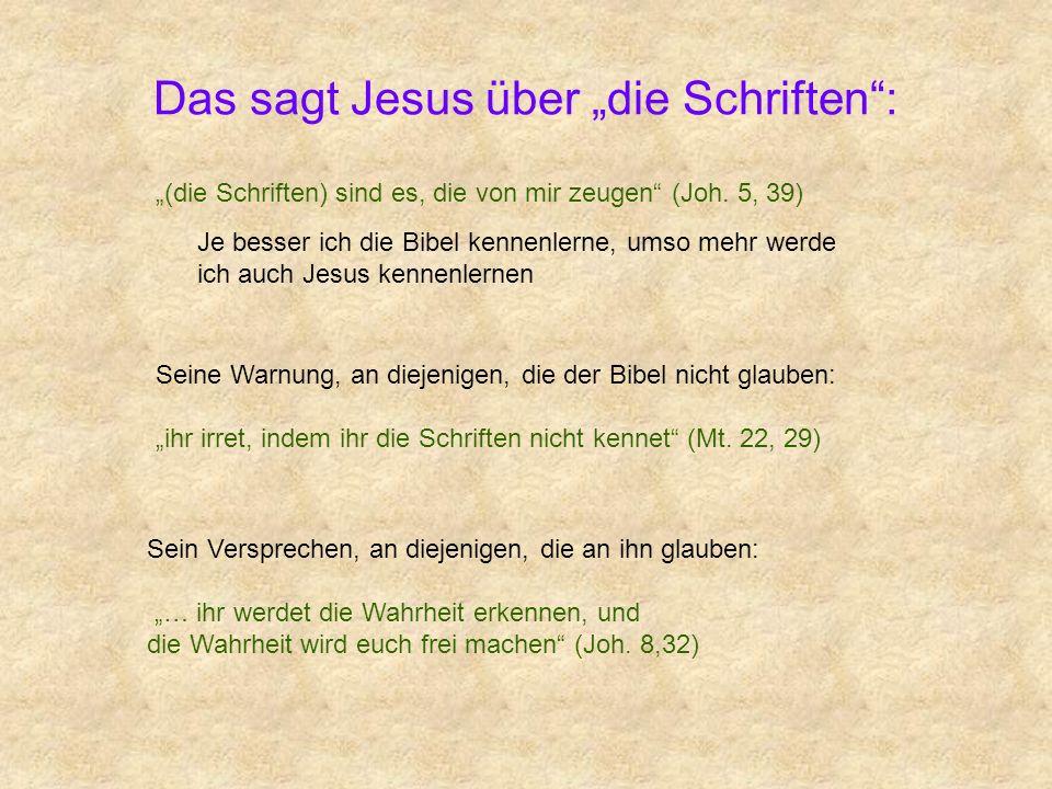 Das sagt Jesus über die Schriften: Je besser ich die Bibel kennenlerne, umso mehr werde ich auch Jesus kennenlernen (die Schriften) sind es, die von m