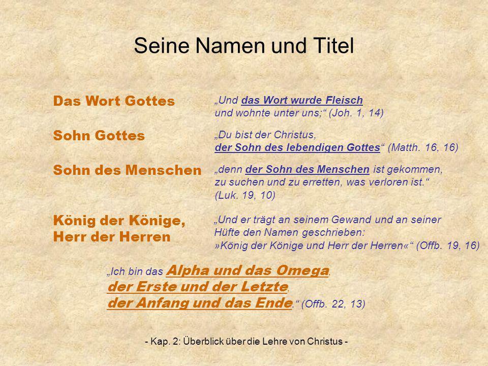 - Kap. 2: Überblick über die Lehre von Christus - Seine Namen und Titel Sohn Gottes Sohn des Menschen Das Wort Gottes König der Könige, Herr der Herre