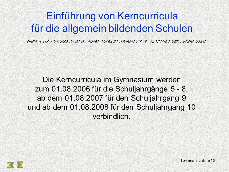 Kerncurriculum 17 Medieneinsatz 5678910 Graphikfähiger Taschenrechner Dynamische Geometriesoftware Tabellenkalkulation Computer-Algebra- System