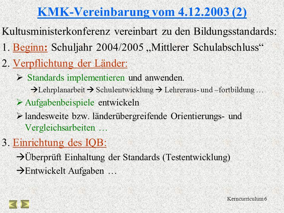 Kerncurriculum 5 KMK-Vereinbarung vom 4.12.2003 (1) KMK: zentrale Aufgabe ist Sicherung der Qualität schulischer Bildung, Vergleichbarkeit schulischer
