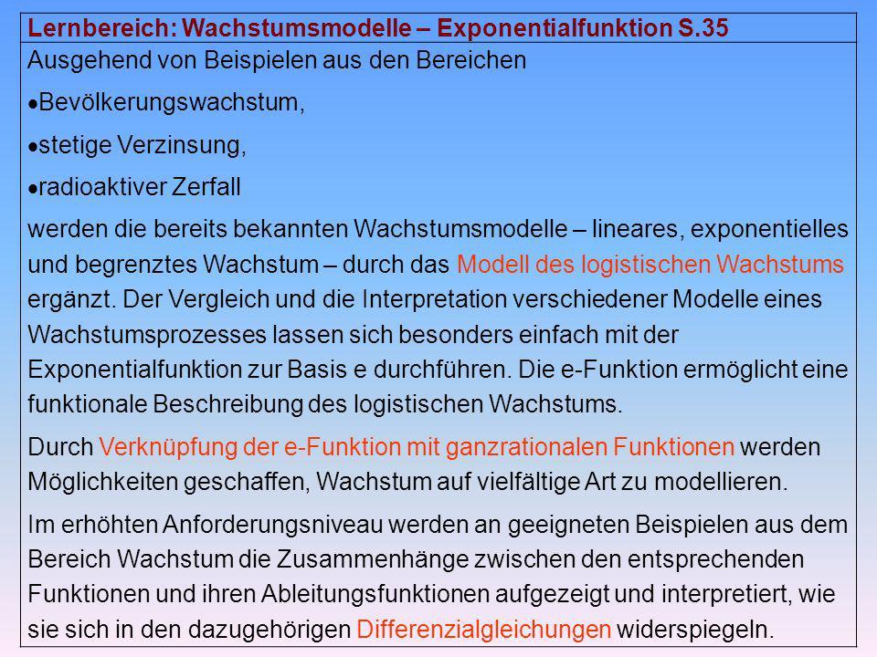 Lernbereich: Wachstumsmodelle – Exponentialfunktion S.35 Ausgehend von Beispielen aus den Bereichen Bevölkerungswachstum, stetige Verzinsung, radioakt