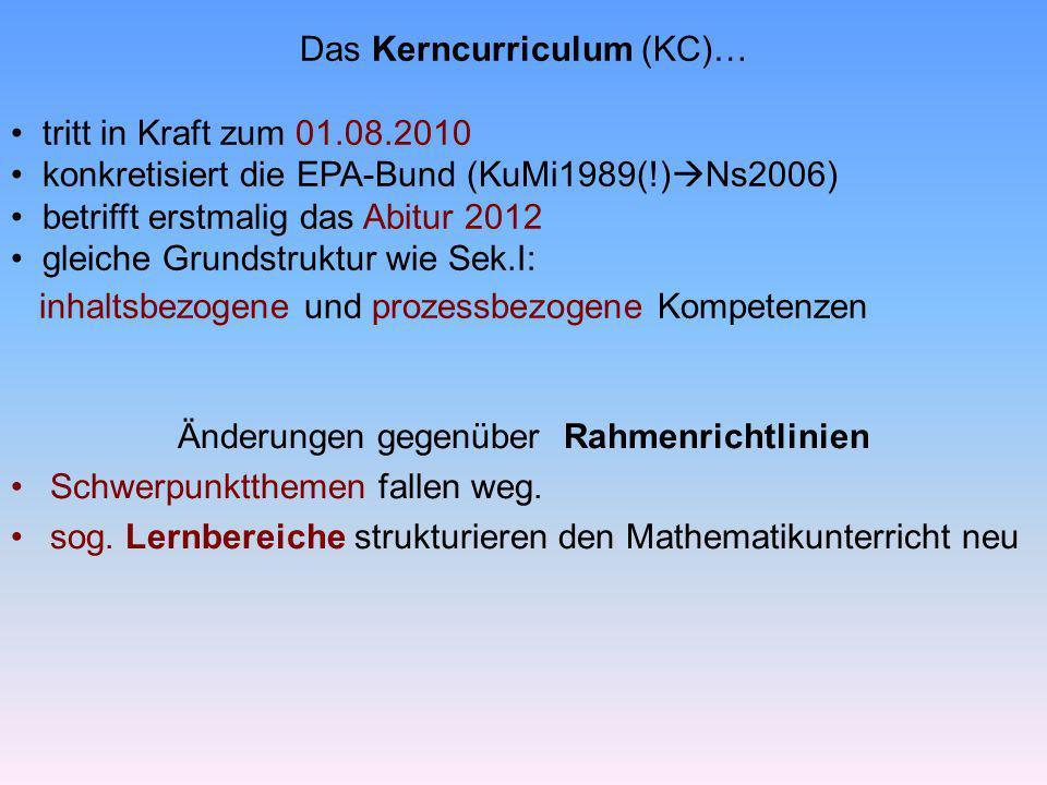 Das Kerncurriculum (KC)… tritt in Kraft zum 01.08.2010 konkretisiert die EPA-Bund (KuMi1989(!) Ns2006) betrifft erstmalig das Abitur 2012 gleiche Grun