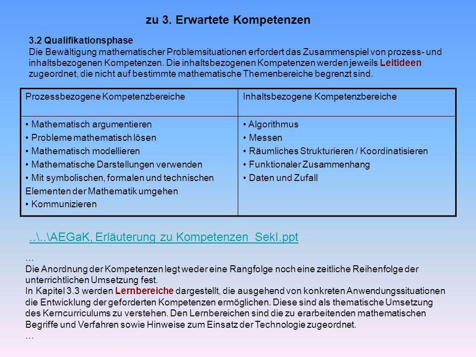 3.2 Qualifikationsphase Die Bewältigung mathematischer Problemsituationen erfordert das Zusammenspiel von prozess- und inhaltsbezogenen Kompetenzen.