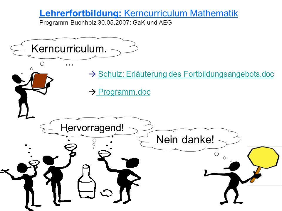 Kerncurriculum.... Nein danke! Hervorragend! Lehrerfortbildung: Kerncurriculum Mathematik Programm Buchholz 30.05.2007: GaK und AEG Schulz: Erläuterun