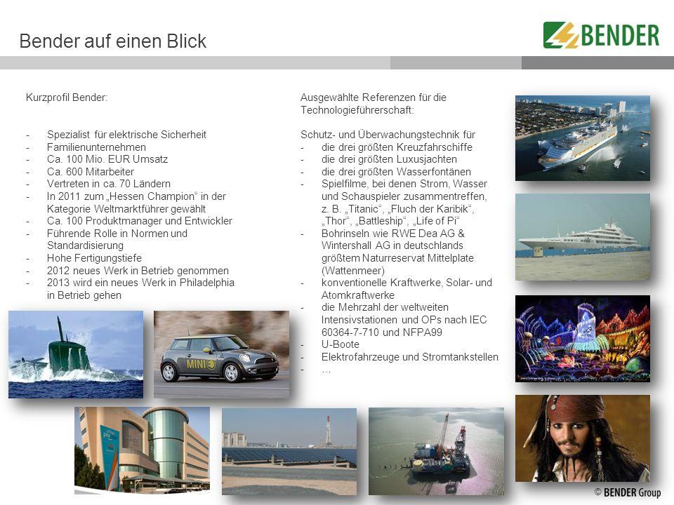 © Kurzprofil Bender: -Spezialist für elektrische Sicherheit -Familienunternehmen -Ca. 100 Mio. EUR Umsatz -Ca. 600 Mitarbeiter -Vertreten in ca. 70 Lä
