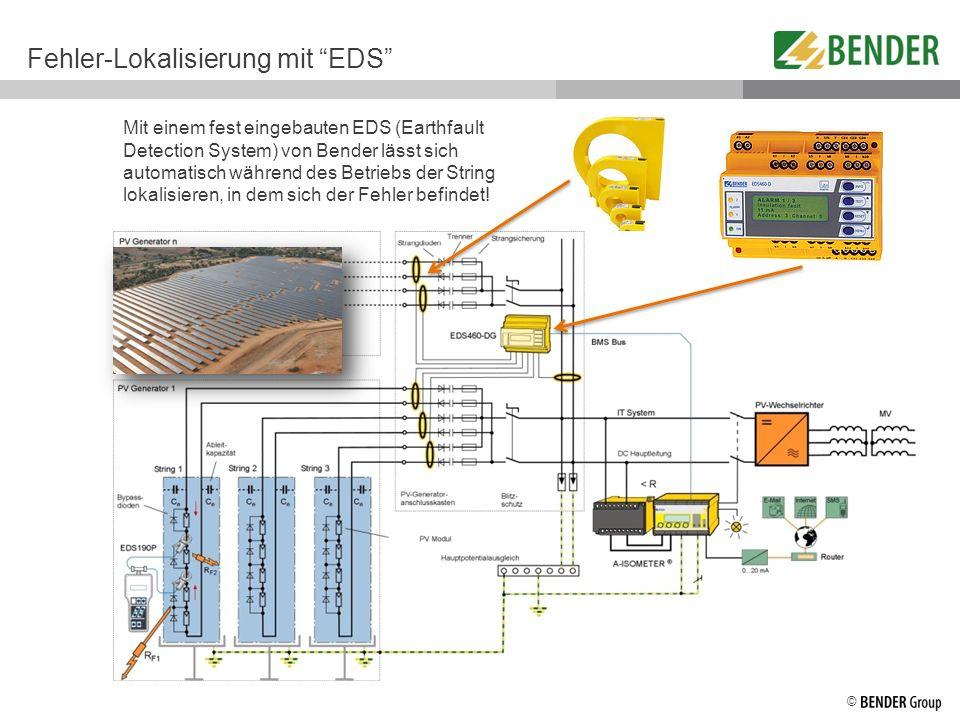 © Fehler-Lokalisierung mit EDS Mit einem fest eingebauten EDS (Earthfault Detection System) von Bender lässt sich automatisch während des Betriebs der