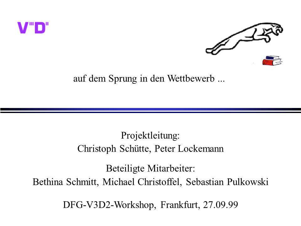 UniC a ts Bethina SchmittV3D2-Workshop, Frankfurt, am 27.09.99 Ergebnisse - Trader l Erstellung spezifischer Anbieterprofile/Metadaten (flexibel) l verschiedene Ansätze zur automatischen Metadatengewinnung durch eigeninitiierte Traderanfragen l flexibler und alle Attribute umfassender Anfrageauswertungsalgorithmus l Modell für Traderzusammenarbeit 2 M.