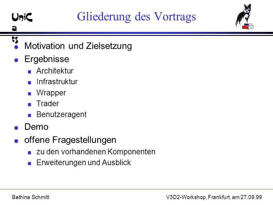 UniC a ts Bethina SchmittV3D2-Workshop, Frankfurt, am 27.09.99 Ergebnisse - Benutzeragent l Ergebnisintegration: n flexible Duplikateliminierungsstrategien l Benutzerunterstützung: n inkrementeller Aufbau der Ergebnismenge n interaktive Nachbearbeitungsoperatoren l Benutzerschnittstelle: orientiert am MVC-Paradigma n strukturierter HTML-Text n Baumdarstellung mit Hi-Cite-Funktionalität unter Java-Swing n 3D-Visualisierung unter QuakeII