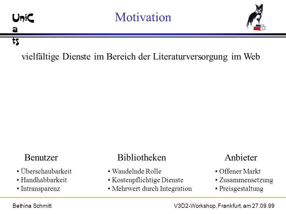 UniC a ts Bethina SchmittV3D2-Workshop, Frankfurt, am 27.09.99 Zielsetzung AnbieterBibliothekenBenutzer