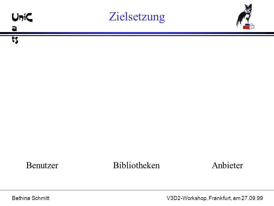UniC a ts Bethina SchmittV3D2-Workshop, Frankfurt, am 27.09.99 Offene Fragen l Wrapper n anpassungsfähige und flexible Recherchestrategien n kostenoptimierte Anfrageübersetzung, kommerzielle Datenquellen n rechtliche Aspekte l Trader n Anpassungsfähigkeit n Traderkooperation und Traderföderation n neutrales Verhalten und Einfluß auf Marktgeschehen l Benutzeragent n generische Lösung durch typische Benutzergruppen n flexible und robuste Anfrageplanung n Unterstützung des kompletten Rechercheprozesses