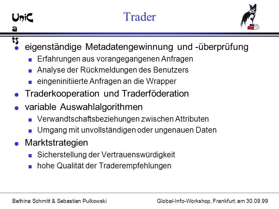 UniC a ts Bethina Schmitt & Sebastian PulkowskiGlobal-Info-Workshop, Frankfurt, am 30.09.99 Trader l eigenständige Metadatengewinnung und -überprüfung