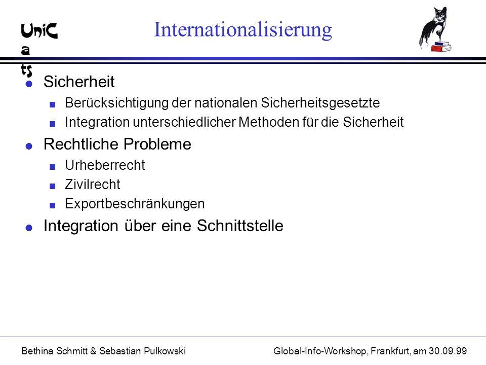 UniC a ts Bethina Schmitt & Sebastian PulkowskiGlobal-Info-Workshop, Frankfurt, am 30.09.99 Internationalisierung l Sicherheit n Berücksichtigung der