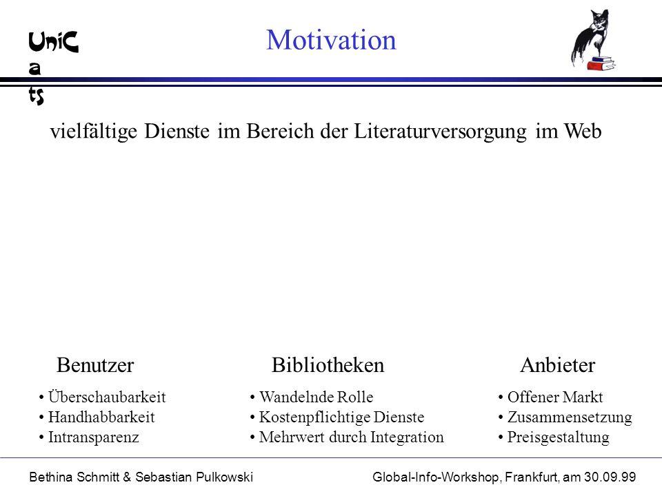 UniC a ts Bethina Schmitt & Sebastian PulkowskiGlobal-Info-Workshop, Frankfurt, am 30.09.99 Motivation vielfältige Dienste im Bereich der Literaturver