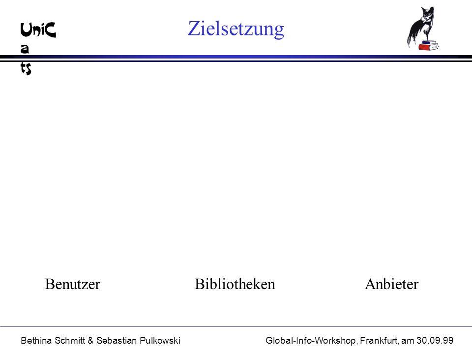UniC a ts Bethina Schmitt & Sebastian PulkowskiGlobal-Info-Workshop, Frankfurt, am 30.09.99 Zielsetzung AnbieterBibliothekenBenutzer