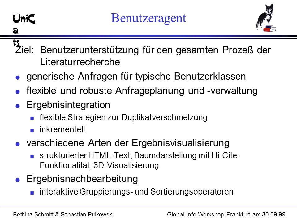 UniC a ts Bethina Schmitt & Sebastian PulkowskiGlobal-Info-Workshop, Frankfurt, am 30.09.99 Benutzeragent Ziel: Benutzerunterstützung für den gesamten