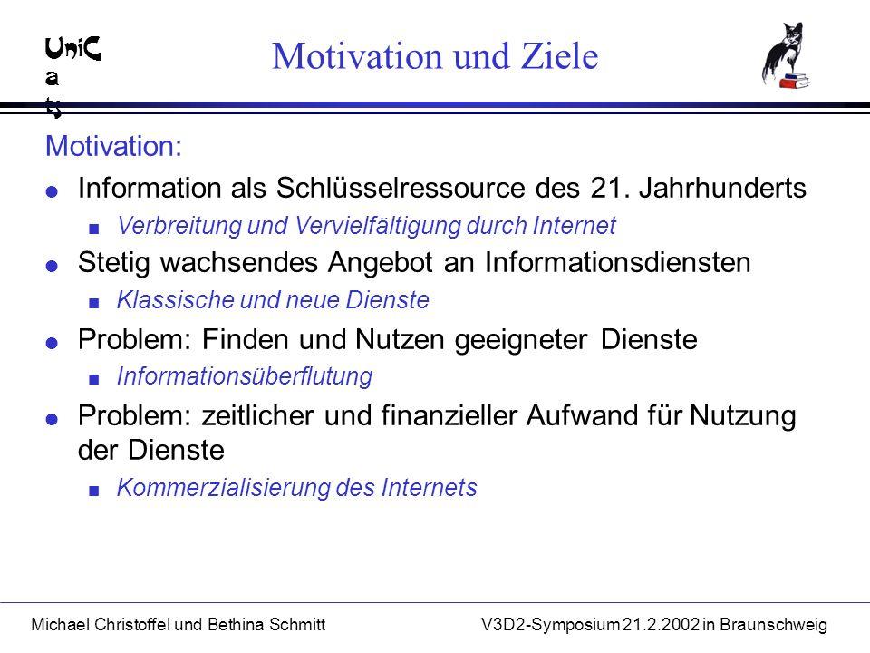 UniC a ts Michael Christoffel und Bethina SchmittV3D2-Symposium 21.2.2002 in Braunschweig Motivation und Ziele Motivation: l Information als Schlüsselressource des 21.
