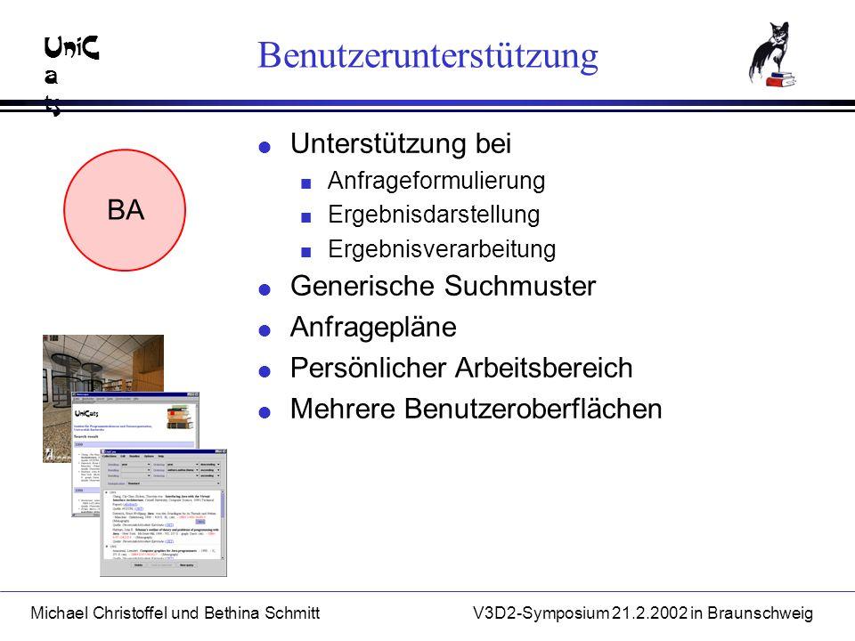 UniC a ts Michael Christoffel und Bethina SchmittV3D2-Symposium 21.2.2002 in Braunschweig Benutzerunterstützung l Unterstützung bei n Anfrageformulierung n Ergebnisdarstellung n Ergebnisverarbeitung BA l Generische Suchmuster l Anfragepläne l Persönlicher Arbeitsbereich l Mehrere Benutzeroberflächen