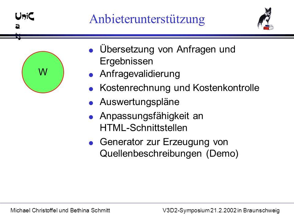 UniC a ts Michael Christoffel und Bethina SchmittV3D2-Symposium 21.2.2002 in Braunschweig Anbieterunterstützung l Übersetzung von Anfragen und Ergebnissen W l Anfragevalidierung l Kostenrechnung und Kostenkontrolle l Auswertungspläne l Anpassungsfähigkeit an HTML-Schnittstellen l Generator zur Erzeugung von Quellenbeschreibungen (Demo)