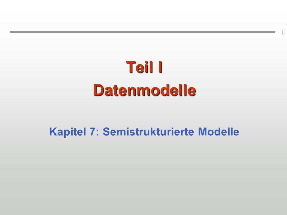 2 Ursprung: Web-Daten unterscheiden sich drastisch von den bisher gewohnten Daten in Datenbanken: selbst-beschreibend heterogen, tief verschachtelt, unregelmäßig gemischt Dokument- und faktische Daten Heutige Bedeutung: Diese Eigenschaften definieren ein universelles Datenaustauschformat Dafür sollte sich wieder ein Datenmodell angeben lassen Wunsch nach Datenbankunterstützung: Vermeiden von Datentransformationen durch den Benutzer.
