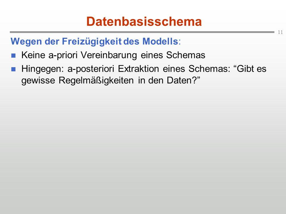 11 Datenbasisschema Wegen der Freizügigkeit des Modells: Keine a-priori Vereinbarung eines Schemas Hingegen: a-posteriori Extraktion eines Schemas: Gibt es gewisse Regelmäßigkeiten in den Daten?