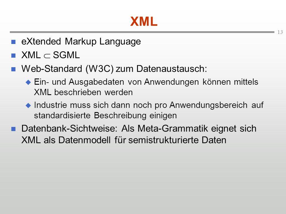 13 XML eXtended Markup Language XML SGML Web-Standard (W3C) zum Datenaustausch: Ein- und Ausgabedaten von Anwendungen können mittels XML beschrieben werden Industrie muss sich dann noch pro Anwendungsbereich auf standardisierte Beschreibung einigen Datenbank-Sichtweise: Als Meta-Grammatik eignet sich XML als Datenmodell für semistrukturierte Daten