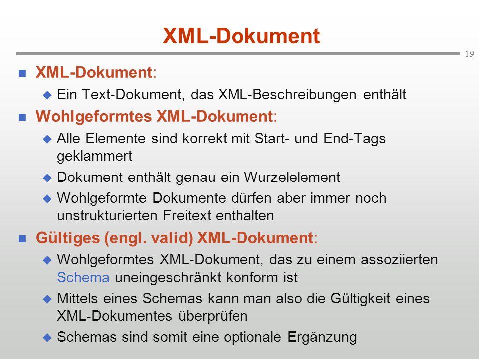 19 XML-Dokument XML-Dokument: Ein Text-Dokument, das XML-Beschreibungen enthält Wohlgeformtes XML-Dokument: Alle Elemente sind korrekt mit Start- und End-Tags geklammert Dokument enthält genau ein Wurzelelement Wohlgeformte Dokumente dürfen aber immer noch unstrukturierten Freitext enthalten Gültiges (engl.