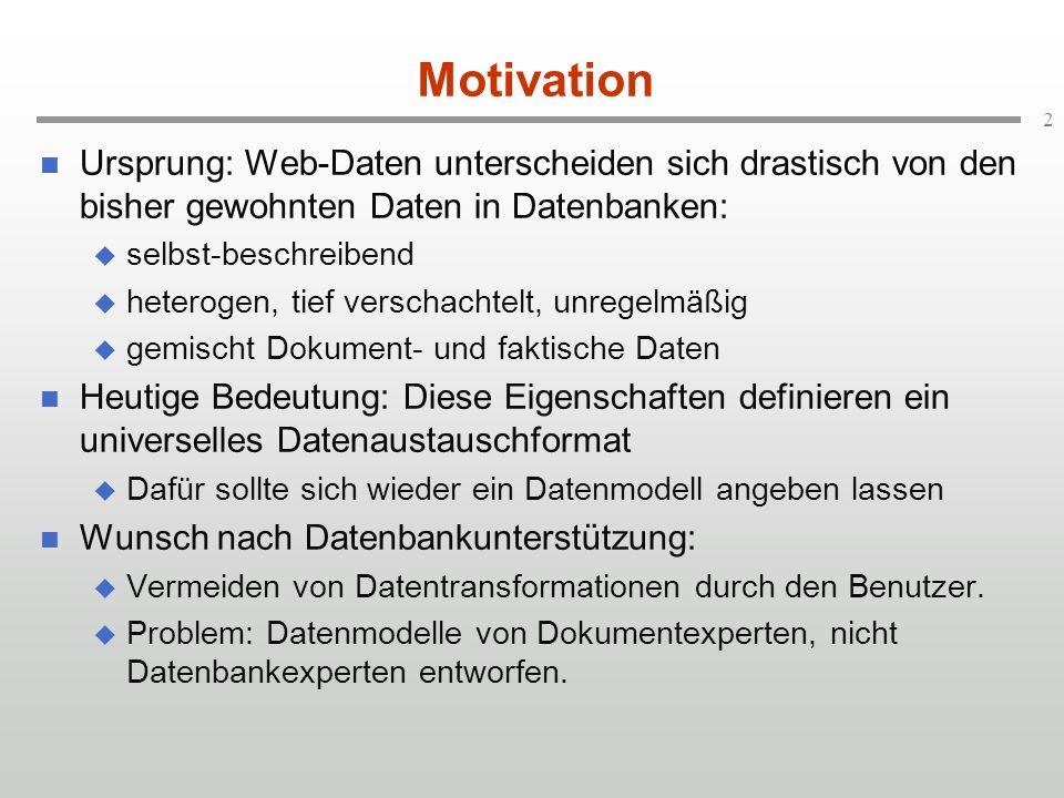 3 Literatur Abiteboul, Buneman, Suciu: Data on the Web: From Relational to Semistructured to XML.
