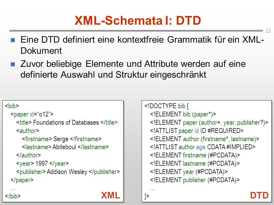 21 XML-Schemata I: DTD Eine DTD definiert eine kontextfreie Grammatik für ein XML- Dokument Zuvor beliebige Elemente und Attribute werden auf eine definierte Auswahl und Struktur eingeschränkt Foundations of Databases Serge Abiteboul 1997 Addison Wesley...