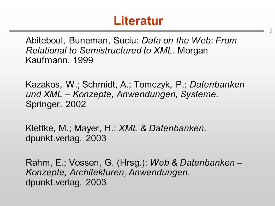 84 bib book Data on the Web titleauthor Serge firstname Abiteboul lastname Peter firstname Bunemann lastname XQuery: Funktionen (Beispiel) [2] authorpublisher Morgan- Kaufmann name define function werkliste($autor as element author) as node* { for $x in /bib/* where some $e in $x/author satisfies $e = $autor order by $x/year descending, $x/title return {$x} { Funktionsname (werkliste) Parametername ($autor) Parametertyp (author-Element) Rückgabetyp (immer Liste!, hier: Liste beliebiger Knoten) Kardinalität (* = 0..) (1) Binde x an alle Kind- Knoten von bib (2) Schränke Auswahl ein auf: {x   e {x/author}: e=$autor} (3) Sortiere nach (2) gefilterte x absteigend 1.