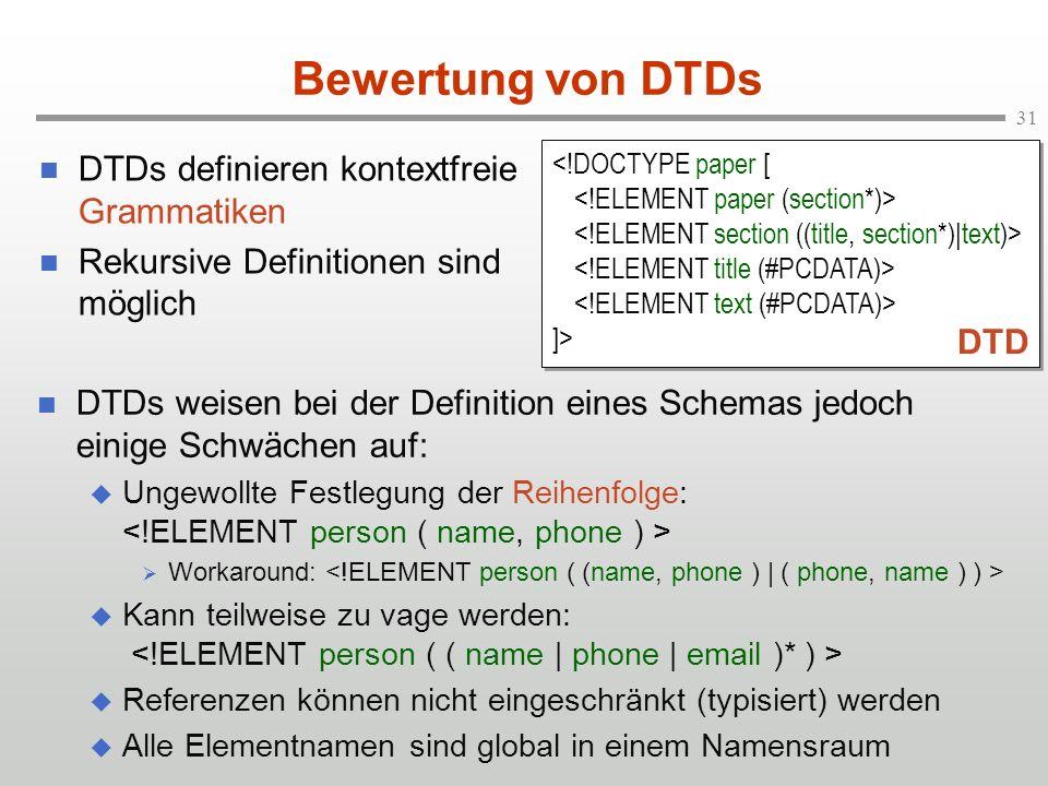 31 Bewertung von DTDs DTDs definieren kontextfreie Grammatiken Rekursive Definitionen sind möglich ]> ]> DTD DTDs weisen bei der Definition eines Schemas jedoch einige Schwächen auf: Ungewollte Festlegung der Reihenfolge: Workaround: Kann teilweise zu vage werden: Referenzen können nicht eingeschränkt (typisiert) werden Alle Elementnamen sind global in einem Namensraum